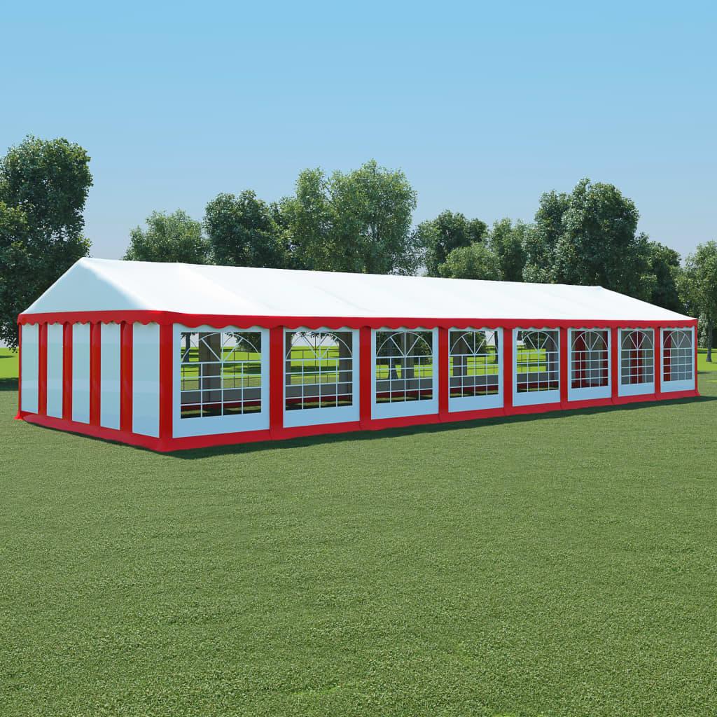 vidaXL Pavilion de grădină, roșu și alb, 6x16 m, PVC vidaxl.ro