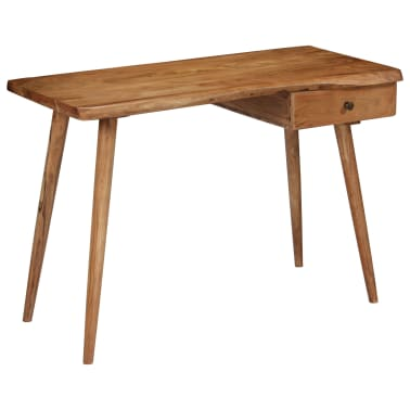 vidaXL Rašomasis stalas, masyvi akacijos mediena, 110x50x76cm[15/18]