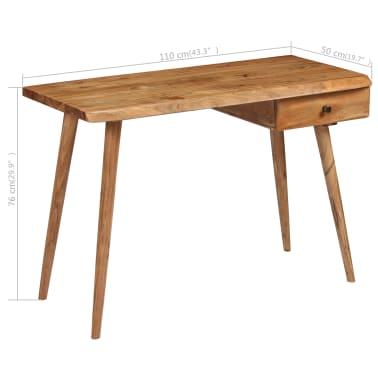 vidaXL Rašomasis stalas, masyvi akacijos mediena, 110x50x76cm[18/18]
