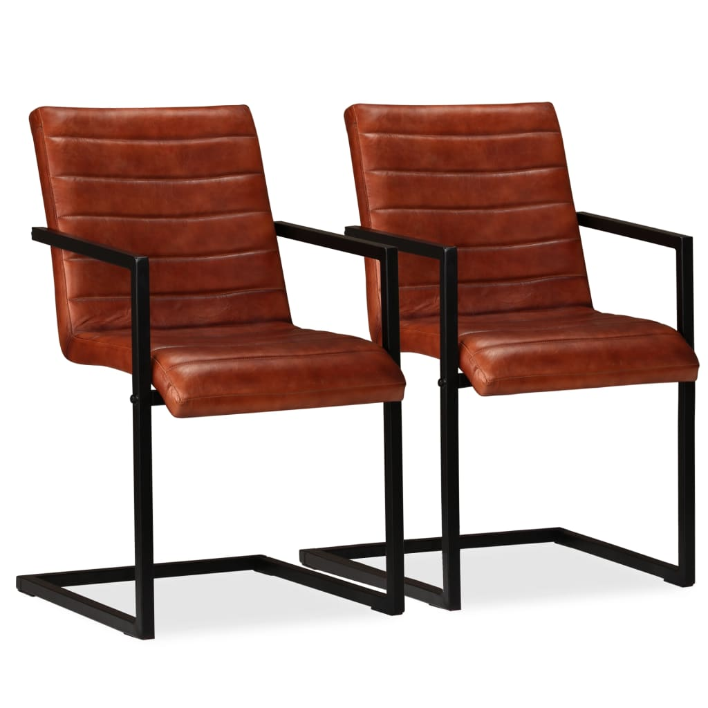 vidaXL Jídelní židle 2 ks pravá kůže hnědé