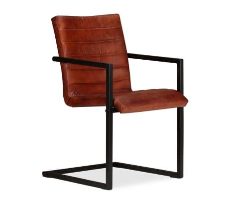 acheter vidaxl chaise de salle manger 2 pcs cuir v ritable marron pas cher. Black Bedroom Furniture Sets. Home Design Ideas