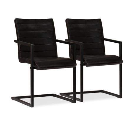acheter vidaxl chaise de salle manger 2 pcs cuir v ritable anthracite pas cher. Black Bedroom Furniture Sets. Home Design Ideas