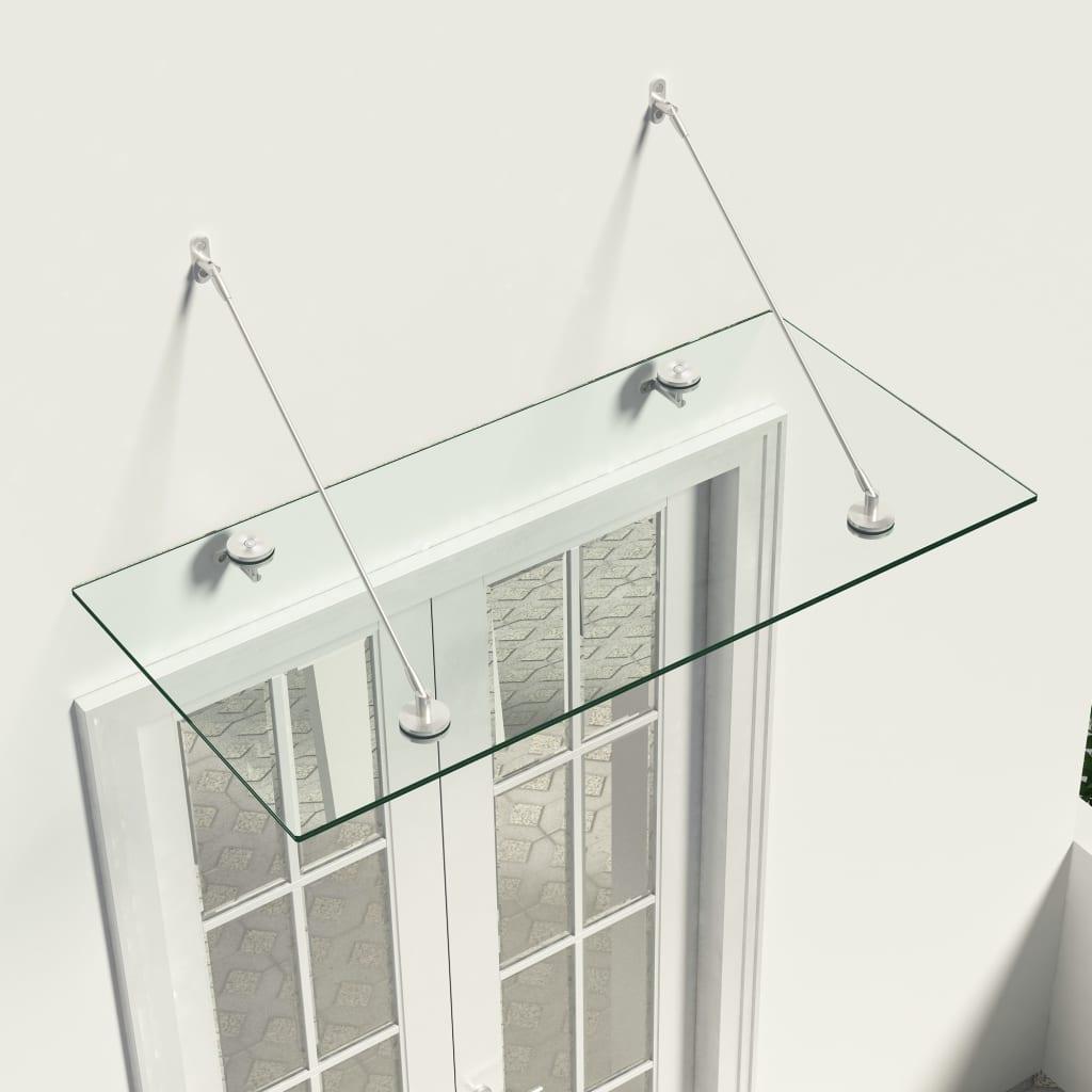 vidaXL VSG Copertină sticlă securizată pt ușa din față,120x60 cm, oțel poza vidaxl.ro