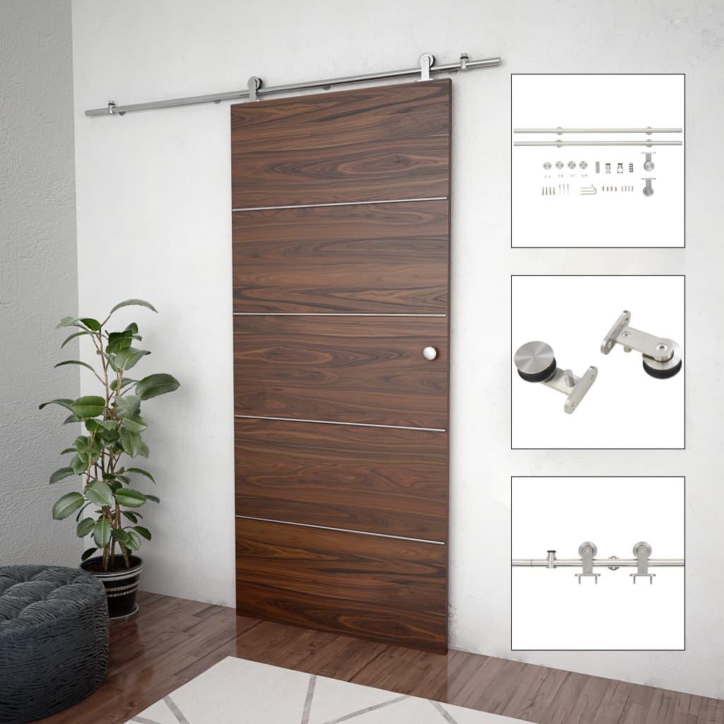 vidaXL Set piese pentru ușă glisantă, argintiu, 183 cm oțel inoxidabil vidaxl.ro