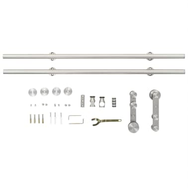 "vidaXL Sliding Door Hardware Kit 72"" Stainless Steel Silver[4/5]"