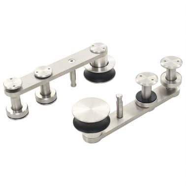 "vidaXL Sliding Door Hardware Kit 72"" Stainless Steel Silver[5/5]"