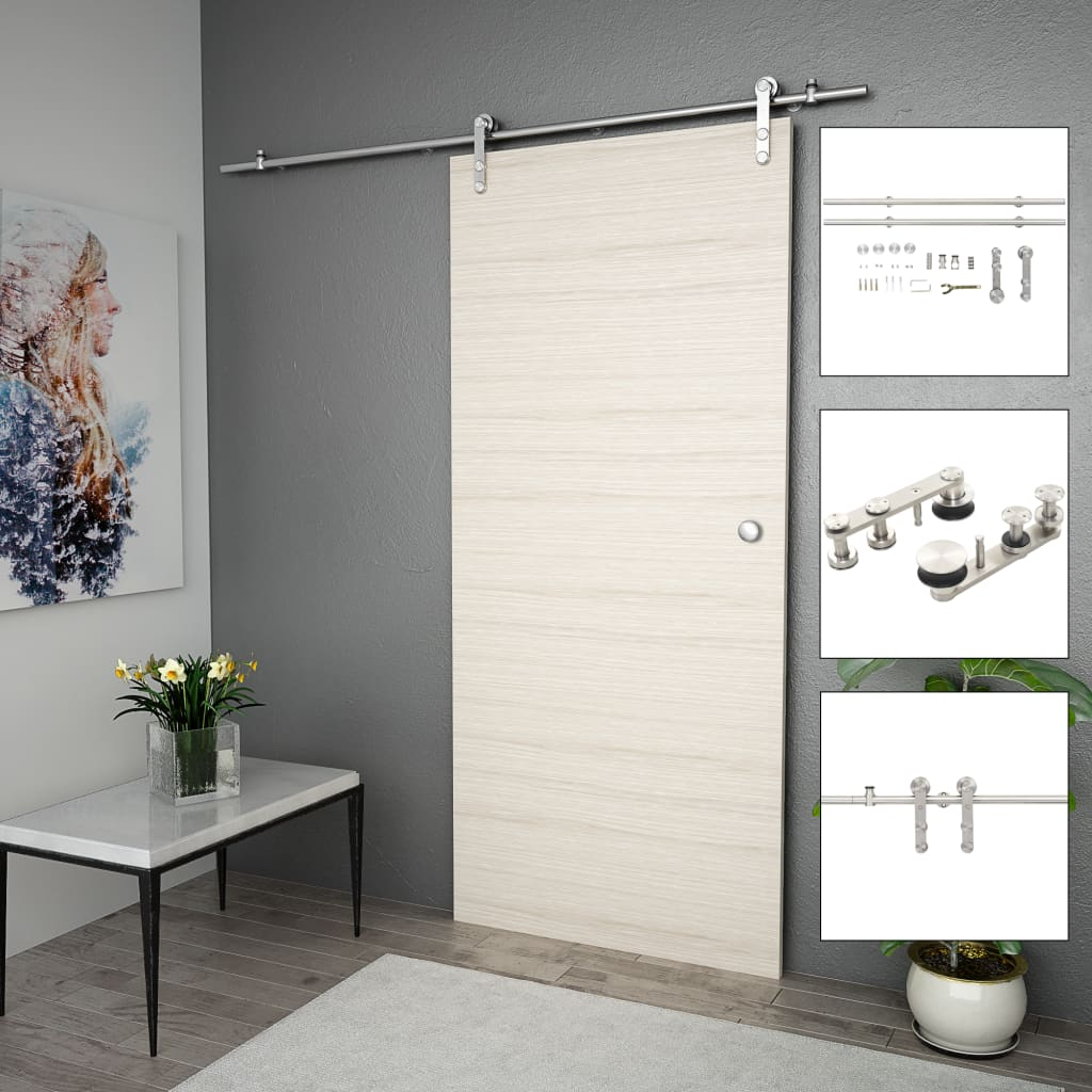 vidaXL Set piese pentru ușă glisantă, argintiu, 183 cm oțel inoxidabil imagine vidaxl.ro