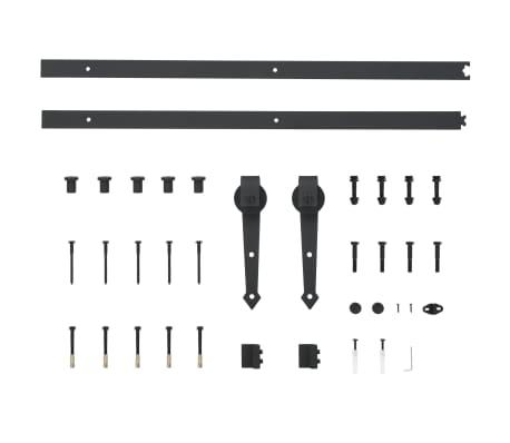 vidaXL Doos met onderdelen voor schuifdeur 183 cm staal zwart[5/5]