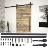 "vidaXL Sliding Door Hardware Kit 72"" Steel Black"