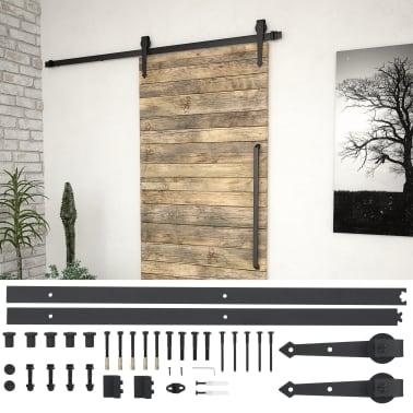 vidaXL Doos met onderdelen voor schuifdeur 183 cm staal zwart[1/5]