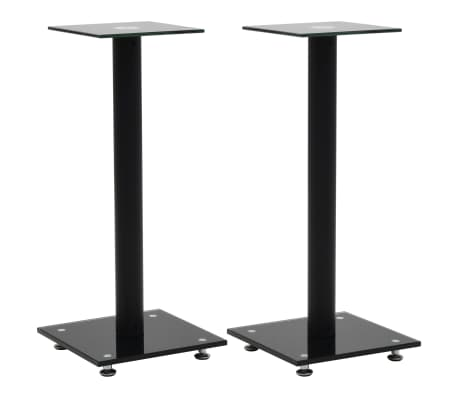 vidaXL Speaker Stands 2 pcs Tempered Glass 1 Pillar Design Black[1/7]