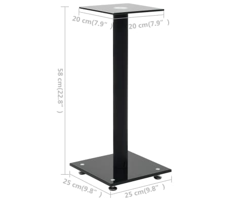 vidaXL Speaker Stands 2 pcs Tempered Glass 1 Pillar Design Black[7/7]