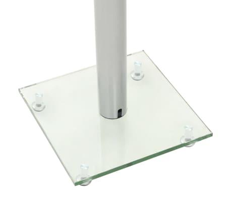 vidaXL Podstawki pod głośniki, 2 szt., hartowane szkło, filar, srebrne[5/7]