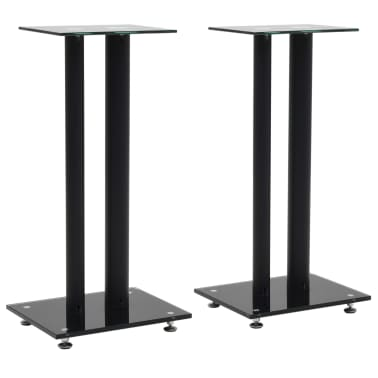vidaXL Speaker Stands 2 pcs Tempered Glass 2 Pillars Design Black[1/7]