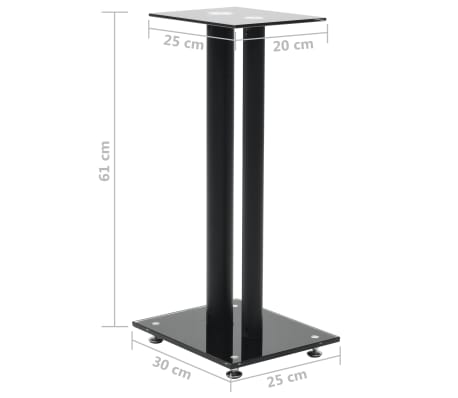 vidaXL Speaker Stands 2 pcs Tempered Glass 2 Pillars Design Black[7/7]