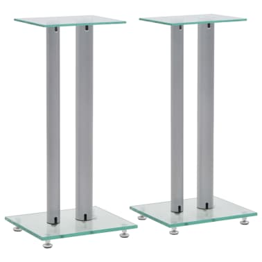 vidaXL Speaker Stands 2 pcs Tempered Glass 2 Pillars Design Silver[1/7]