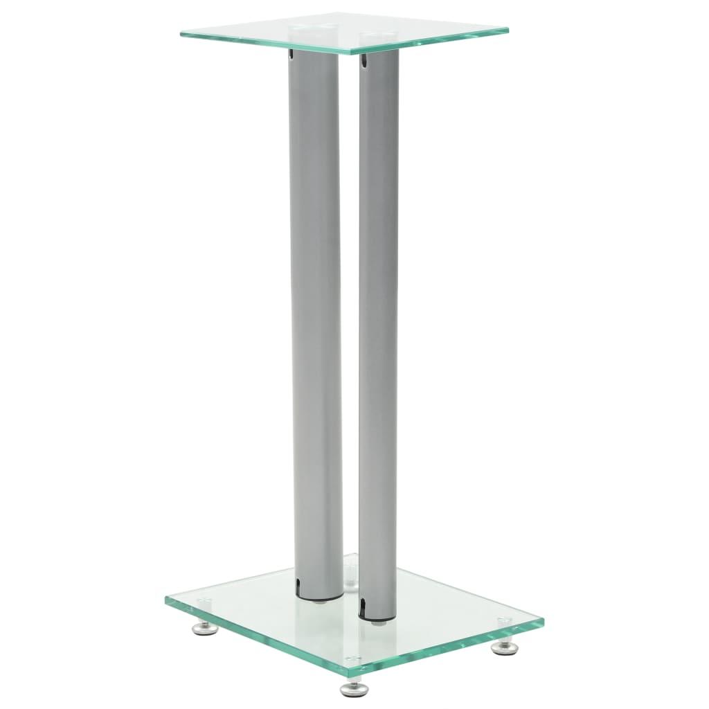 Foto van vidaXL Speakerstandaarden zuil-ontwerp gehard glas zilver 2 st