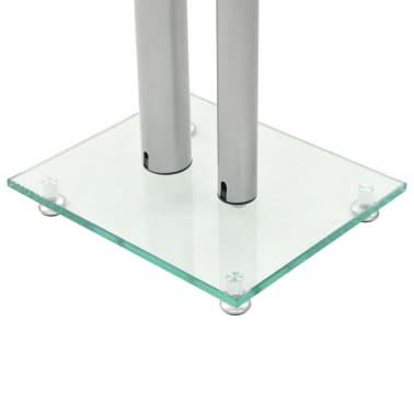 vidaXL Speaker Stands 2 pcs Tempered Glass 2 Pillars Design Silver[5/7]