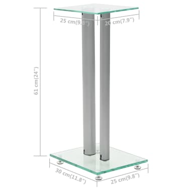 vidaXL Speaker Stands 2 pcs Tempered Glass 2 Pillars Design Silver[7/7]