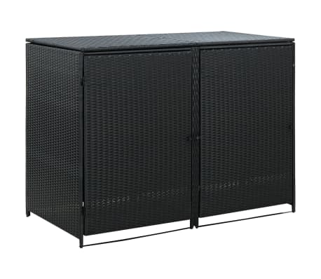 "vidaXL Double Wheelie Bin Shed Poly Rattan Black 58.3""x31.5""x43.7"""