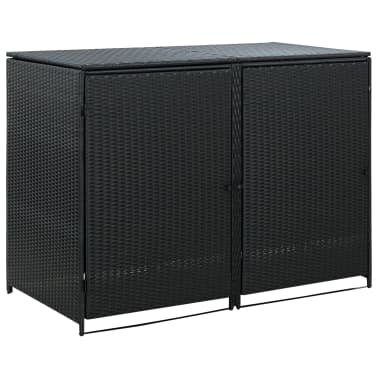 vidaXL Unidade dupla arrumação caixotes lixo vime preto 148x80x111 cm[1/7]
