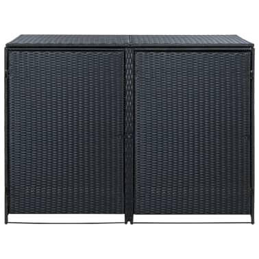 vidaXL Unidade dupla arrumação caixotes lixo vime preto 148x80x111 cm[2/7]
