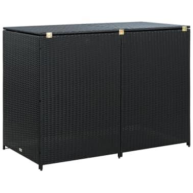 vidaXL Unidade dupla arrumação caixotes lixo vime preto 148x80x111 cm[4/7]