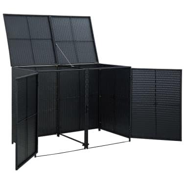 vidaXL Unidade dupla arrumação caixotes lixo vime preto 148x80x111 cm[5/7]