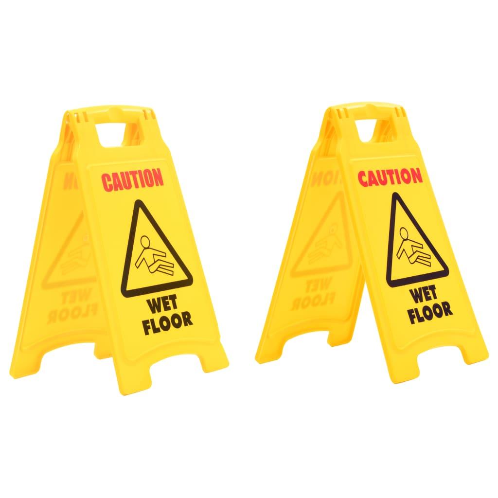 vidaXL Výstražné cedule Pozor, mokrá podlaha 2 ks plastové 47 cm