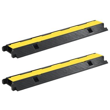 vidaXL Rampas de protección de cable 2 piezas 1 canal goma 100 cm[1/4]