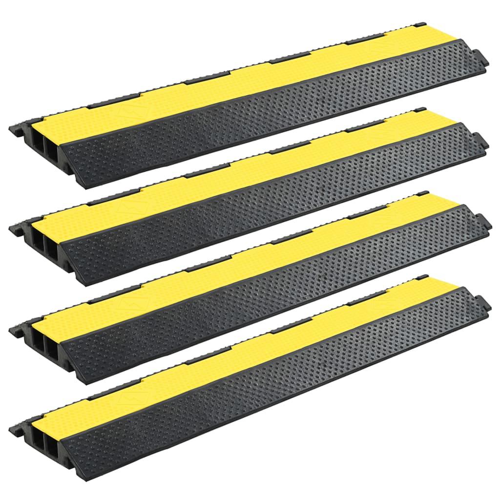 vidaXL Rampas protetoras de cabos 4 pcs 2 canais borracha 101,5 cm