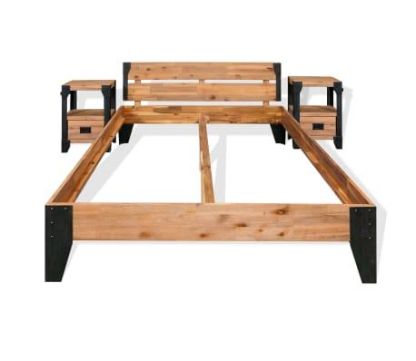 vidaXL Bettrahmen 2 Nachttische Akazienholz Massiv Stahl 140x200 cm[2/14]