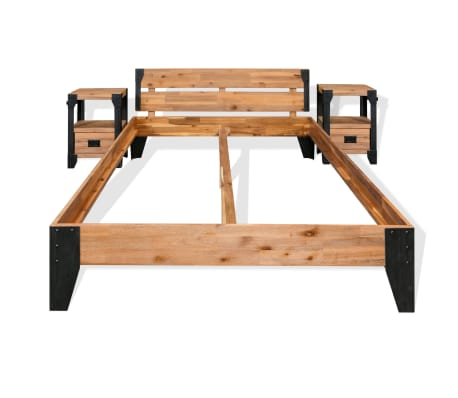 vidaXL Cadre de lit et 2 tables de chevet Acacia Acier 140 x 200 cm[2/14]