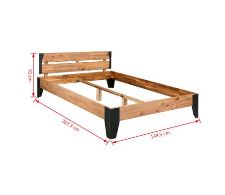 vidaXL Bettrahmen 2 Nachttische Akazienholz Massiv Stahl 140x200 cm[13/14]