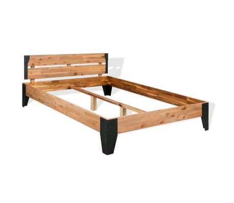 vidaXL Bettrahmen 2 Nachttische Akazienholz Massiv Stahl 140x200 cm[3/14]