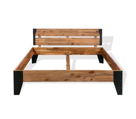 vidaXL Cadre de lit et 2 tables de chevet Acacia Acier 140 x 200 cm[5/14]