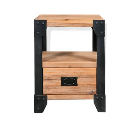 vidaXL Cadre de lit et 2 tables de chevet Acacia Acier 140 x 200 cm[9/14]