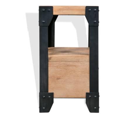 vidaXL Bettrahmen 2 Nachttische Akazienholz Massiv Stahl 140x200 cm[10/14]