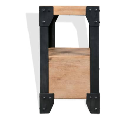 vidaXL Cadre de lit et 2 tables de chevet Acacia Acier 140 x 200 cm[10/14]