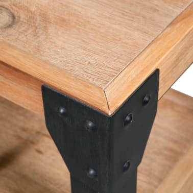 vidaXL Bettrahmen 2 Nachttische Akazienholz Massiv Stahl 140x200 cm[11/14]