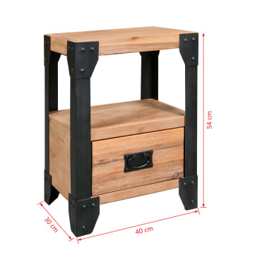 vidaXL Cadre de lit et 2 tables de chevet Acacia Acier 140 x 200 cm[14/14]
