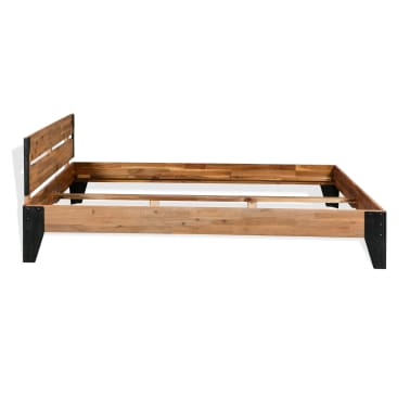 vidaXL Bettrahmen 2 Nachttische Akazienholz Massiv Stahl 140x200 cm[4/14]