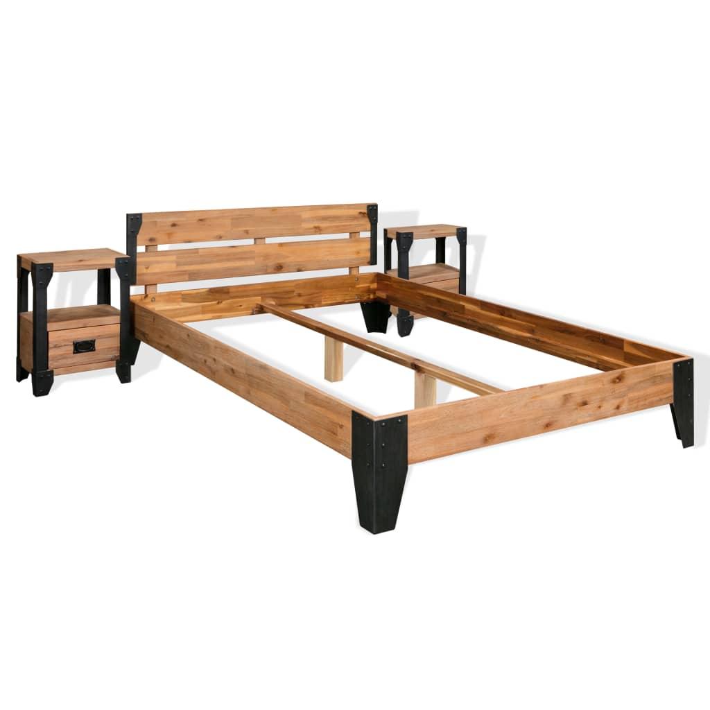 vidaXL Rám postele s 2 nočními stolky, masivní akácie a ocel, 180x200 cm