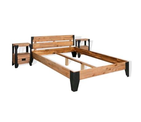 vidaXL Bettrahmen 2 Nachttische Akazienholz Massiv Stahl 180x200 cm[1/14]