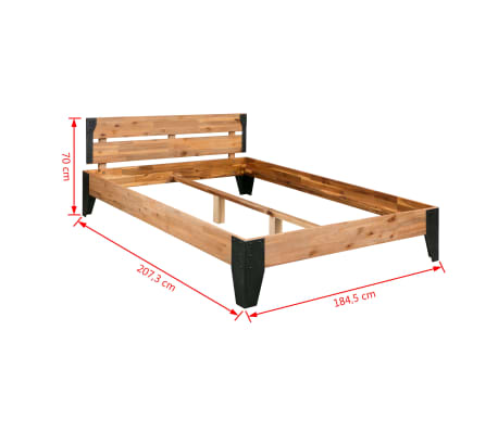 vidaXL Bettrahmen 2 Nachttische Akazienholz Massiv Stahl 180x200 cm[13/14]