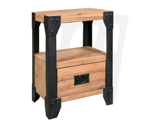 vidaXL Cadre de lit et 2 tables de chevet Acacia Acier 180 x 200 cm[8/14]