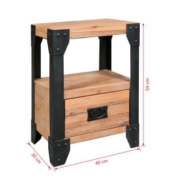 vidaXL Cadre de lit et 2 tables de chevet Acacia Acier 180 x 200 cm[14/14]