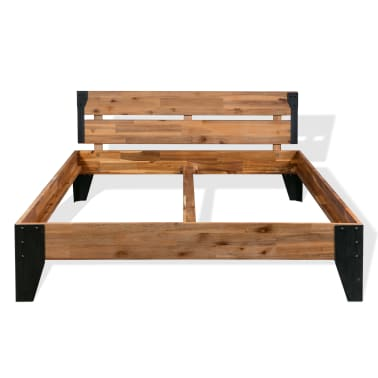 vidaXL Cadre de lit et 2 tables de chevet Acacia Acier 180 x 200 cm[5/14]