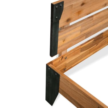 vidaXL Bettrahmen 2 Nachttische Akazienholz Massiv Stahl 180x200 cm[6/14]
