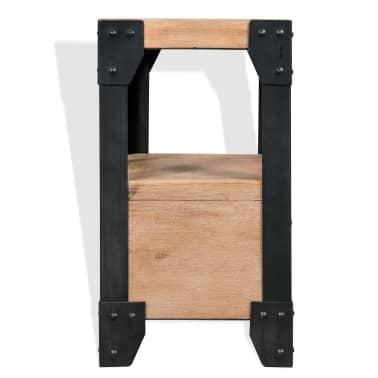 vidaXL Bettrahmen 2 Nachttische Akazienholz Massiv Stahl 180x200 cm[10/14]